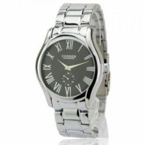 Luxury Round Dial Silver & Black Dress Watch
